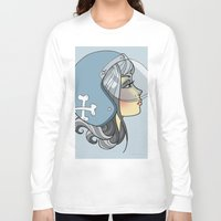 moto Long Sleeve T-shirts featuring Moto Girl by Cory Mendenhall / Blackwing Arts
