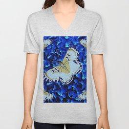 WHITE-PURPLE BUTTERFLIES BLUE MODERN ART Unisex V-Neck