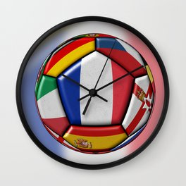 Soccer ball with flags - flag of France in the center Wall Clock