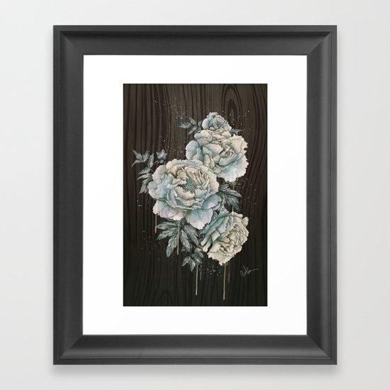 Peony Wood Framed Art Print
