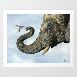 Elephant Cyril And Hummingbird Ayre Art Print