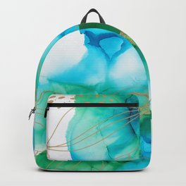 Alcohol Ink blue green flowers Backpack