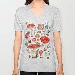Lovely Red Mushrooms - GreenBG Unisex V-Neck