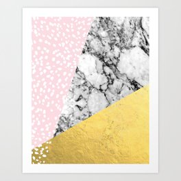 Trini - abstract painting texture gold pastel pink marble trendy hipster minimal art design bklyn  Art Print