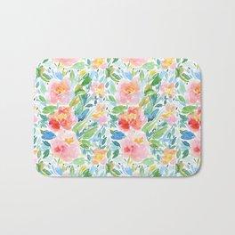 Busy Watercolour Floral Bath Mat