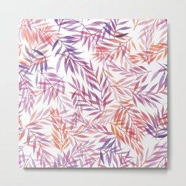 Watercolour Ferns | Orange and Purple Metal Print