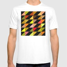 Autumn Triangle pattern MEDIUM White Mens Fitted Tee