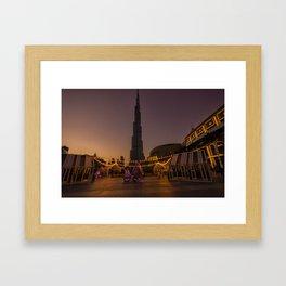 Burj Khalifa sunset Framed Art Print