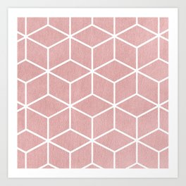 Blush Pink and White - Geometric Textured Cube Design Art Print