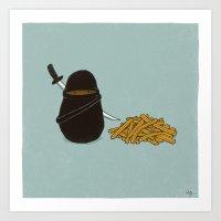 potato Art Prints featuring Potato Ninja by Phil Jones