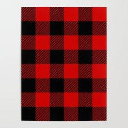 Red Lumberjack Pattern Poster
