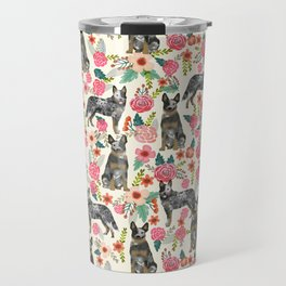 Australian cattle dog floral dog breed cream pet pattern custom gifts for dog lovers Travel Mug