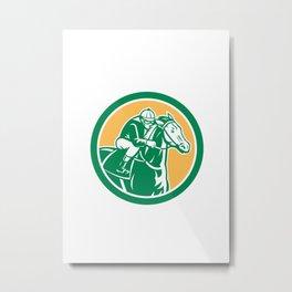 Jockey Horse Racing Circle Retro Metal Print
