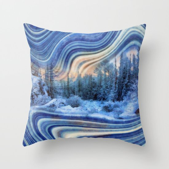 Surreal winter forest Throw Pillow