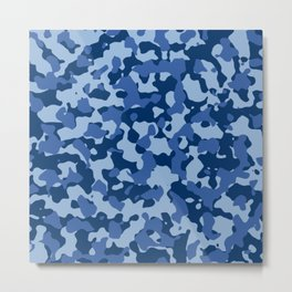 Blue Camouflage Metal Print
