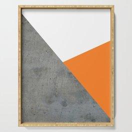 Concrete Tangerine White Serving Tray