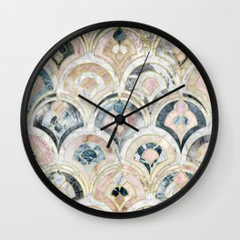 Art Deco Marble Tiles in Soft Pastels Wall Clock