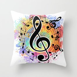 Let's Make Colorful Music Throw Pillow
