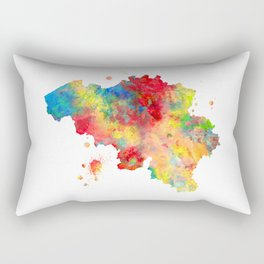 Belgium Map Watercolor Painting Rectangular Pillow