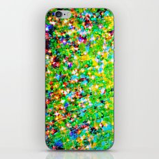 HOLIDAY CHEER - Bold Christmas Festive Green Red Yellow Sparkle Stars Glitter Bling Abstract Art iPhone & iPod Skin