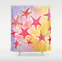 starfish Shower Curtains featuring Starfish by Julie Lehite