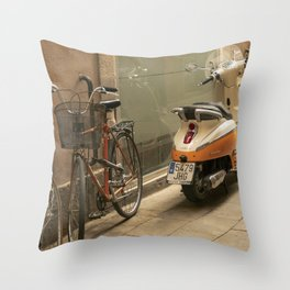Bikes and a Scooter on Old Road Throw Pillow