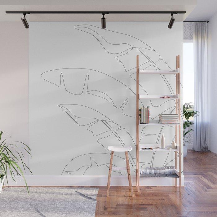 Minimal Line Art Banana Leaves Wall Mural