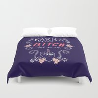 karma Duvet Covers featuring Karma by Brooke Greenberg