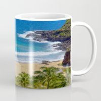 hawaiian Mugs featuring Hawaiian beach by Ricarda Balistreri