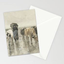 A Herdess with Cows on a Country Road in the Rain Stationery Cards