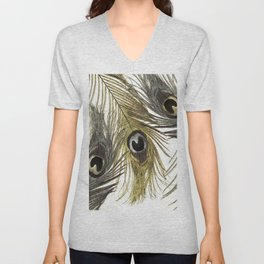 Gold and Silver Peacock Feathers Unisex V-Neck