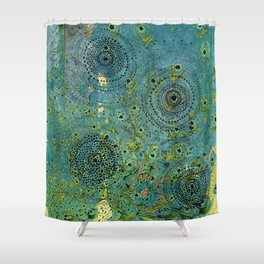 Blue & Green Abstract Art Collage Shower Curtain