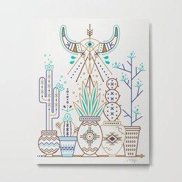 Santa Fe Garden – Turquoise & Brown Metal Print