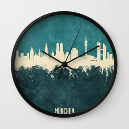 Munich Germany Skyline Wall Clock