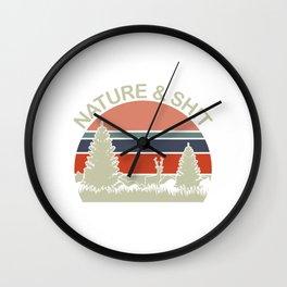 "Retro  Shooting Tee For Hunters Saying ""Nature & Shit"" T-shirt Design Hunting Rifle Deer Mountains Wall Clock"