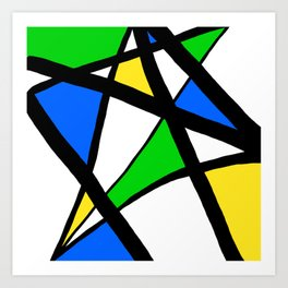 China Blue, Apple Green and Sunshine Yellow Abstract Art Print