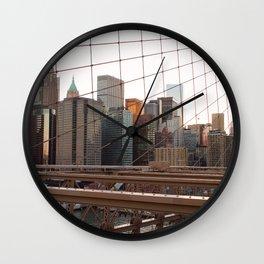 Crossing the Brooklyn Bridge Wall Clock