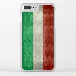Flag of Italy, worn grungy style Clear iPhone Case