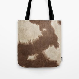 Cowhide Brown and White Tote Bag