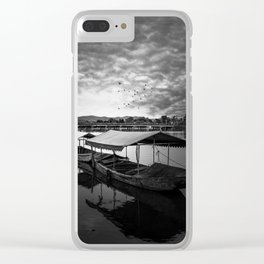 Boat on Water (Black and White) Clear iPhone Case