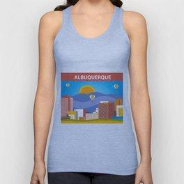 Albuquerque, New Mexico - Skyline Illustration by Loose Petals Unisex Tank Top