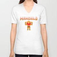8bit V-neck T-shirts featuring 8Bit Manchild by manchildtees.com