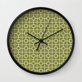 Olive Green Square Chain Pattern Wall Clock