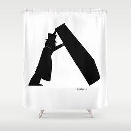 Lone Worker - Funeral Pop Art Shower Curtain