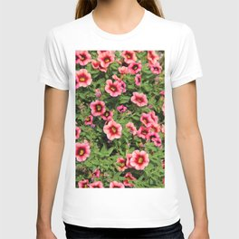 Red Pink Flowers T-shirt