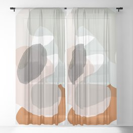 Shapes and Layers no.15 - soft neutral colors Sheer Curtain