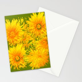 ABSTRACTED MOSS GREEN  FIRST SPRING YELLOW DANDELIONS Stationery Cards