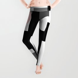An abstract geometric pattern . Geometric shapes . Black pink white pattern . Leggings