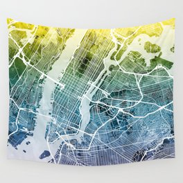 New York City Street Map Wall Tapestry