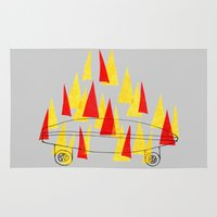 skateboard Area & Throw Rugs featuring Flaming Skateboard by marcusmelton
